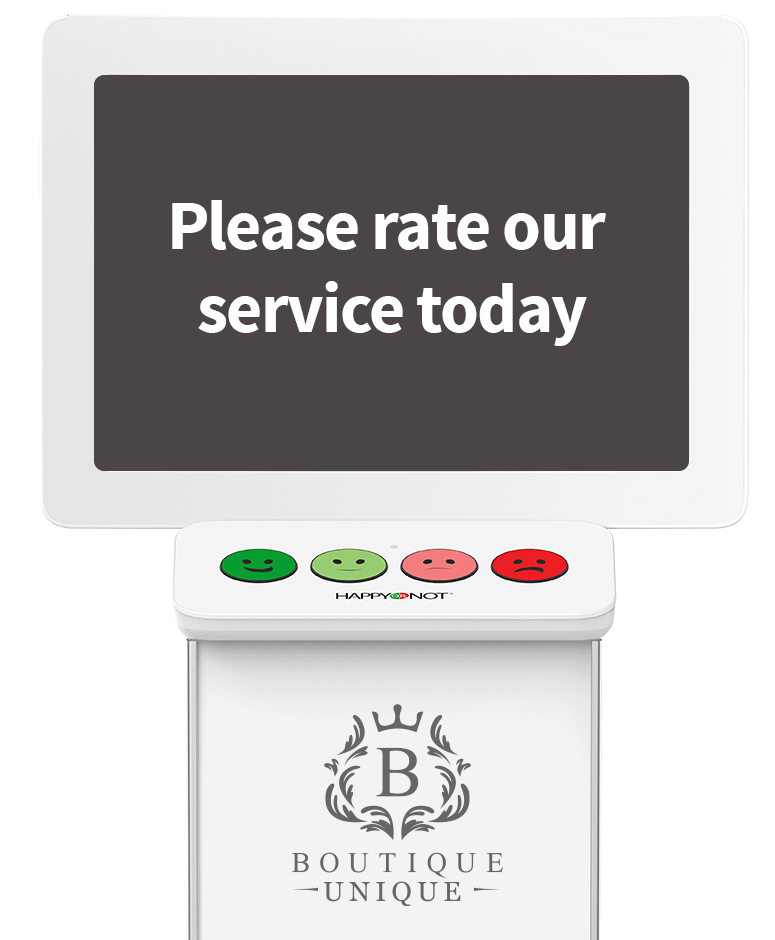 HappyOrNot Smiley Terminal- front view - customer satisfaction measurement kiosk