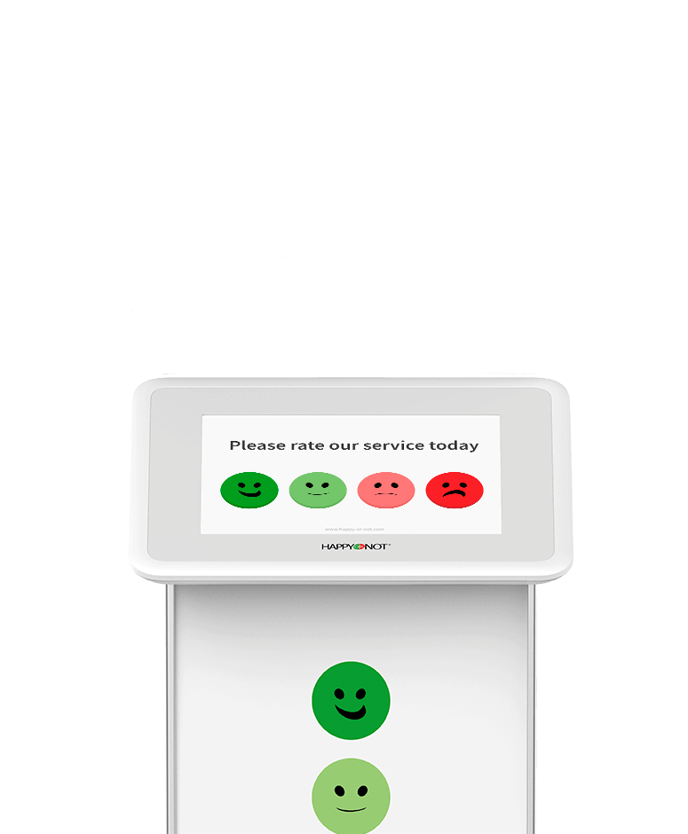 HappyOrNot Smiley Touch- front view - customer satisfaction measurement tablet