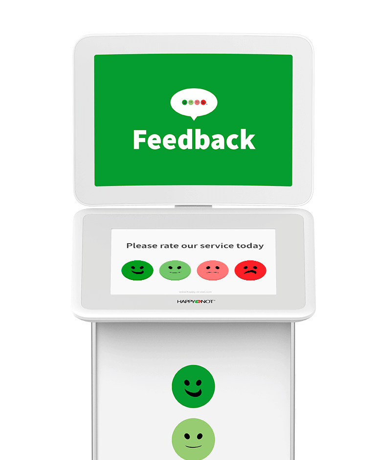 HappyOrNot Smiley Touch - front view - customer satisfaction measurement tablet