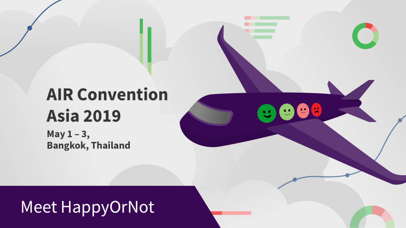 Meet HappyOrNot at AIR Convention Asia 2019 in Bangkok, Thailand.