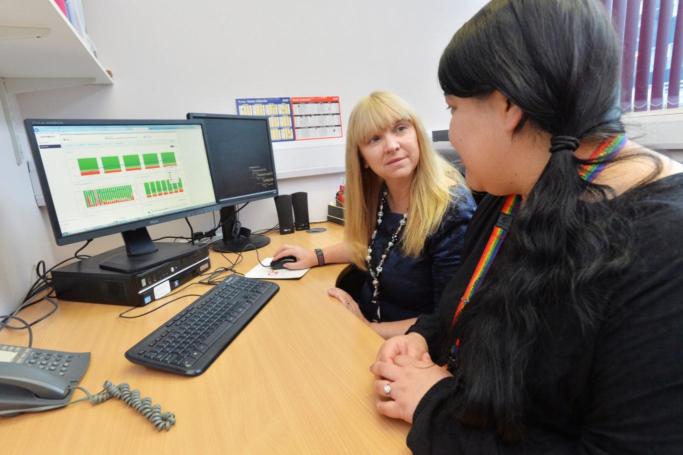 HappyOrNot Customer Story Cardiff and Vale University Health Board staff looking at HappyOrNot Reporting Service