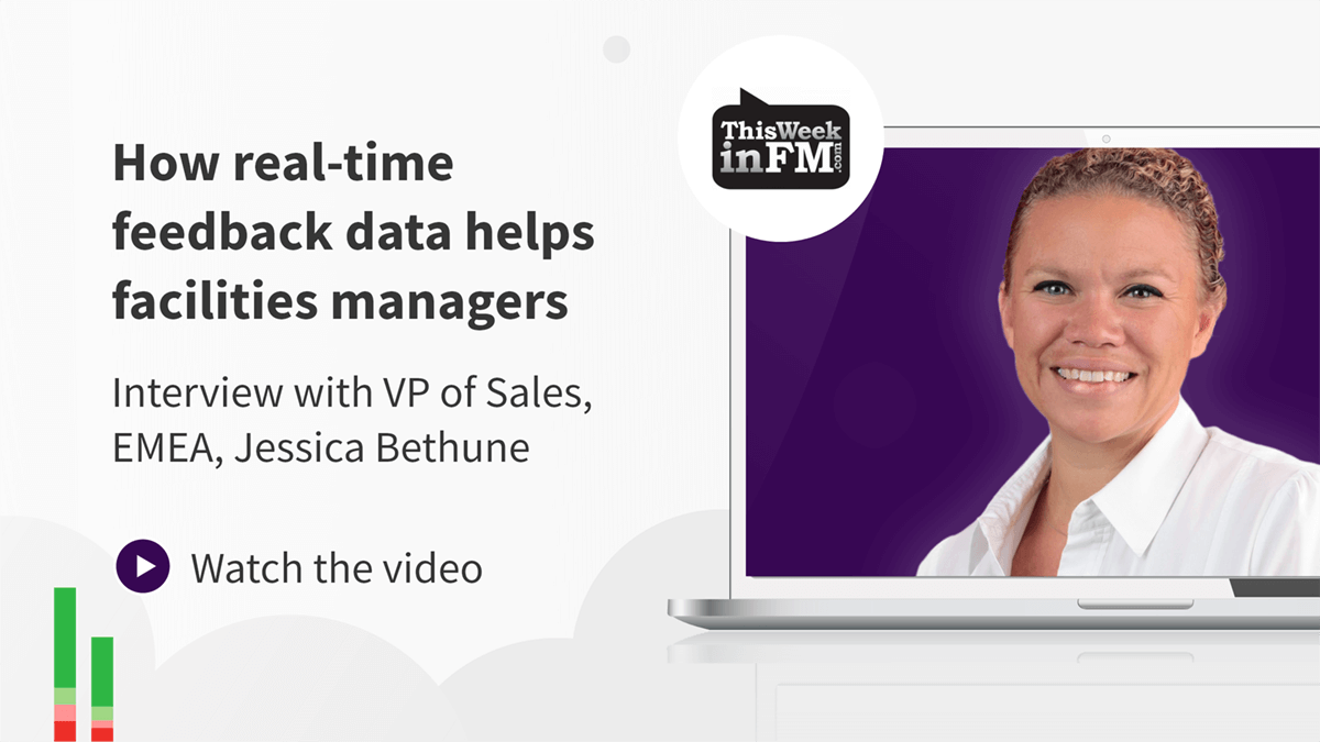 How Real-time feedback data helps facilities managers with Jessica Bethune's picture within a laptop screen