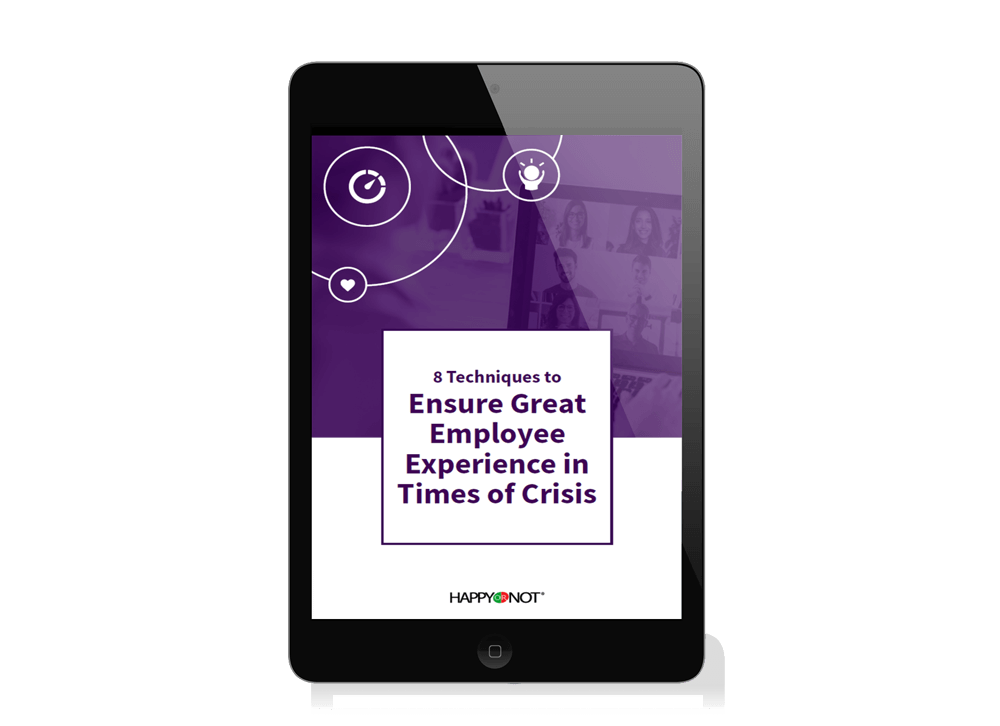 iPad containing the eBook about ensuring great employee experience in times of crisis